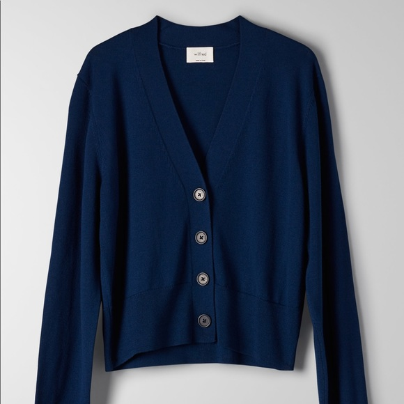 NWT Aritzia Wilfred Mael cropped cardigan, navy